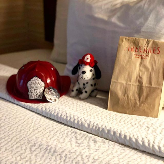 Book our Jr. Firefighter, and watch our Chicago Firefighters in action right outside your window. Your room will also be set up with a pop up fire truck tent, a Dalmatian toy, firefighter helmet, a badge, and #firecakesdonuts !