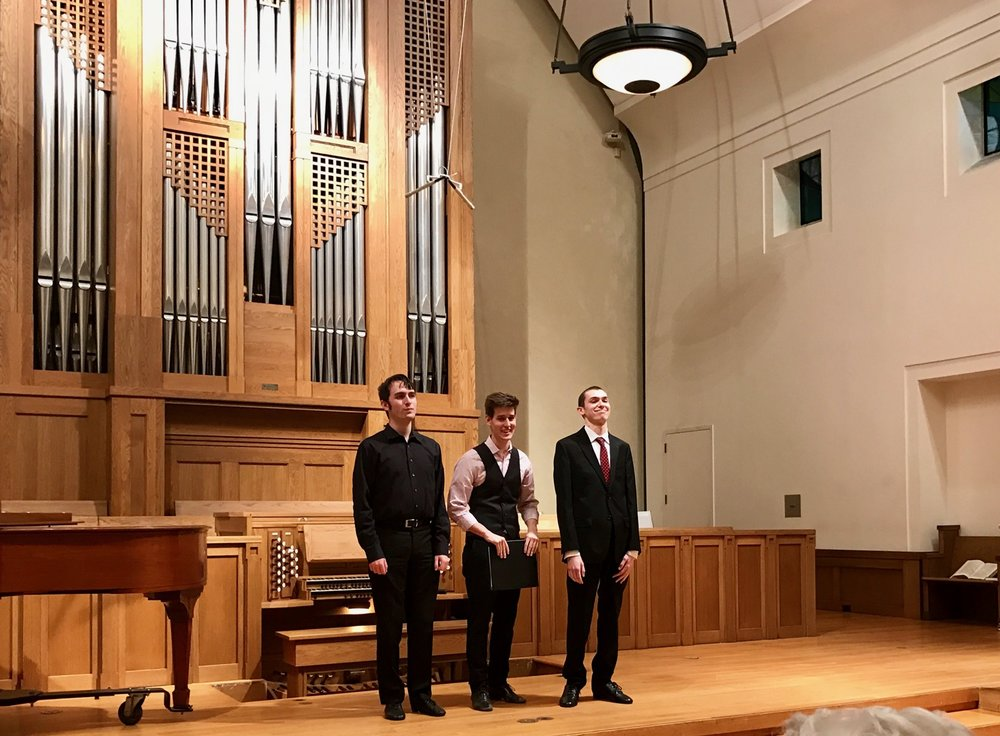 Organ Scholars/Music Interns Greg Zelek (2010-2014), Daniel Ficarri (2014-2016), Ryan Kennedy (2016-current)