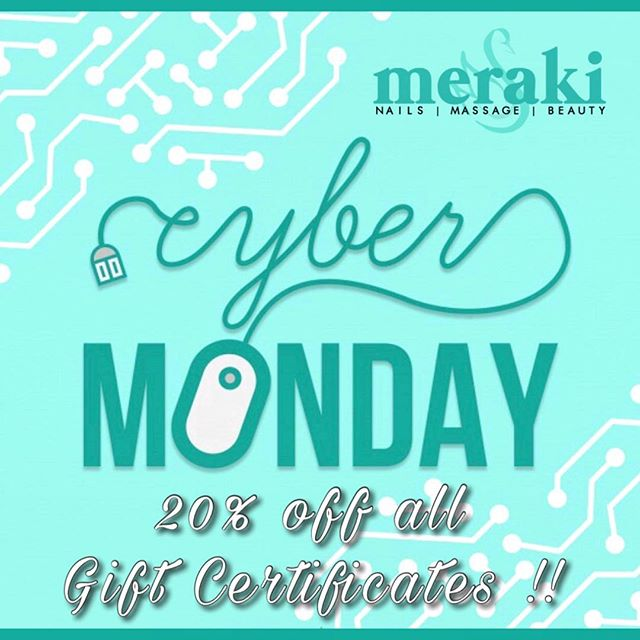 A little something special for this cyber Monday🤩 All gift certificates today will be 20% off ❕❕ Just in time for the perfect holiday present for your loved ones to feel pampered and relax or a special treat for yourself from all the holiday shopping 💆🏼‍♀️ Please follow the direct link in our bio to purchase certificates online. Meraki Spa gift certificates can be printed from home or emailed and redeemed right from your phone. Don't miss out on this amazing deal! 💁🏼‍♀️💅 #cybermonday #pampermeplease