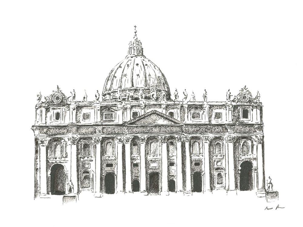 St. Peter's Basilica - 12'' x 9''$225