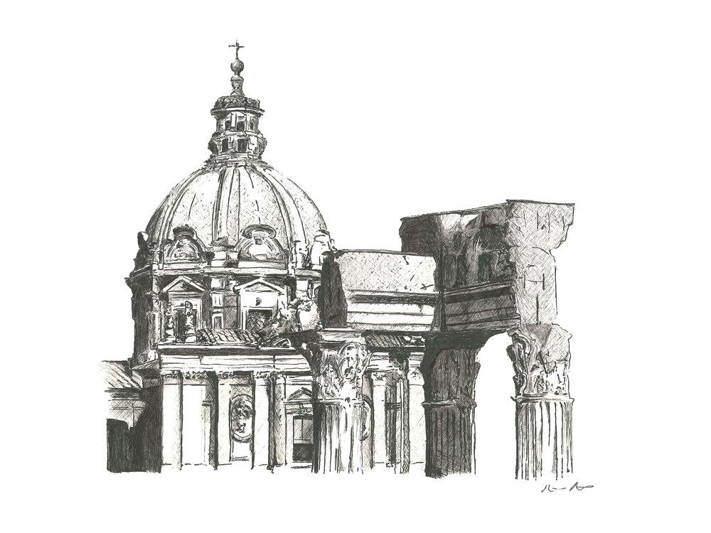 Roman forum - 12'' x 9''$250