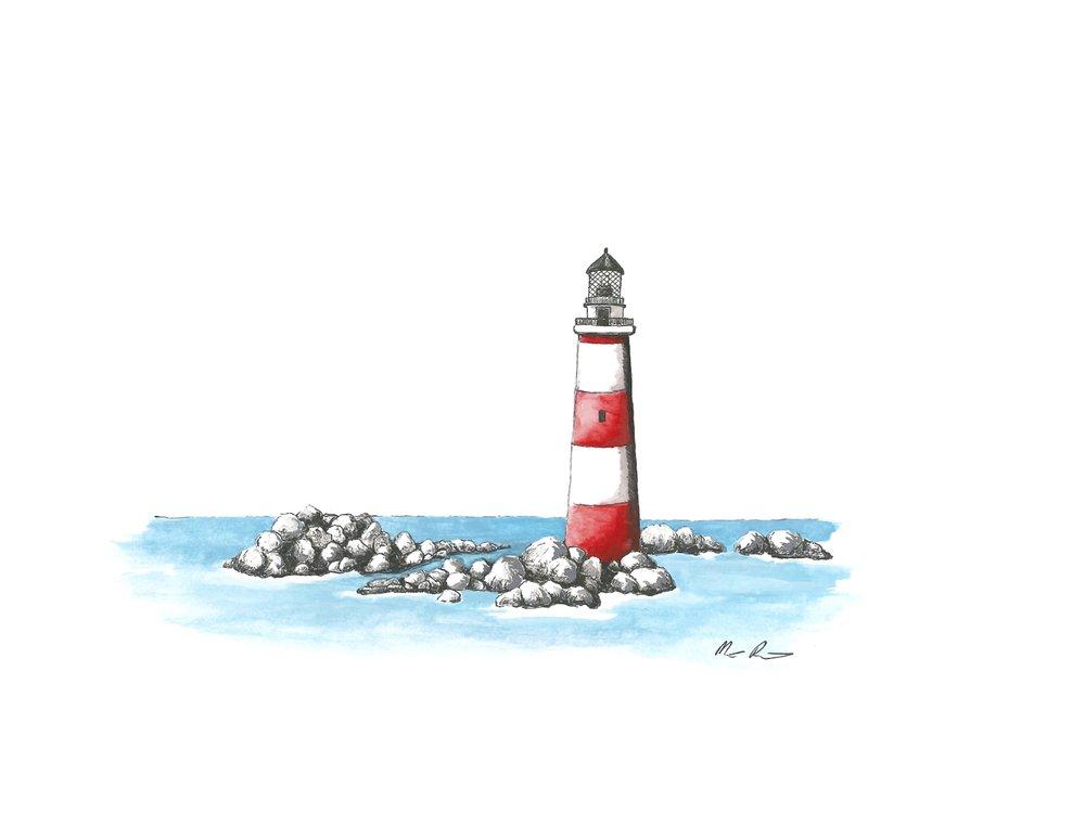 Boston Lighthouse (Pinstripe) - 12