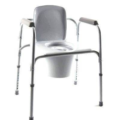 COMMODE -  All steel commode which includes bucket, lid and splash guard (for placing over toilet).    $150.00
