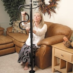 SECURITY POLE - The  Security Pole & Curve Grab Bar makes standing from a couch, bed, or toilet… Easy. And because it's tension mounted, it can easily be placed anywhere in the home without any screws or bolts. The Curve Grab Bar has 4-Handgrips that make it easy to climb to a standing position – and because it rotates 360 degrees – you can move out of the way when not in use..                                                              $150.00