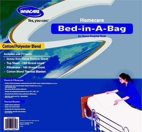 Bed in A Bag - Invacare Home Care Bed In A Bag Sheet Set 50/50 Cotton/Poly Home Care Bed In A Bag Sheet Set 661EBBCB The Invacare 100% Cotton Home Care Bed-in-A-Bag is made of 100% premium cotton. Each set includes a jersey knit fitted bottom sheet, a flat top sheet, a pillowcase, and a cotton blend thermal blanket.$60.00