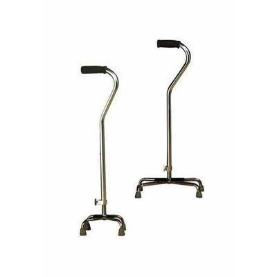 Quad Cane - Height-adjustable; convert for right- or left-hand use. Features Invacare Grip, flared outer legs, and reinforced rubber tips to grip surface, absorb shock. Low-profile, welded steel base and easy-clean, silver-coated finish. Weight capacity: 250 lbs. You can only add up to 10 items. Please remove some items from your list to continue adding new ones.$75.00