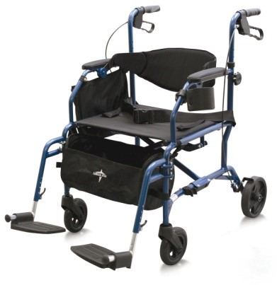 ROLLATOR / TRANSPORT CHAIR - ·         Combine the functionality of both a rollator and transport chair in one unit.·         In just seconds, our Excel Translator easily converts from a rollator to a transport chair and vice-versa.·         Can be used to walk, rest and ride.·         Features include: easy-to-adjust push-button footrests lock to sides of translator when not in use, breathable nylon upholstery, height-adjustable push grips, comfortable hand brake, restaurant-style permanent armrests, convenient sidecarrying case and cup holder, roomy under-seat basket and strong carrying handles.·         Leg style: swing-away detachable footrest.·         Seat size 19