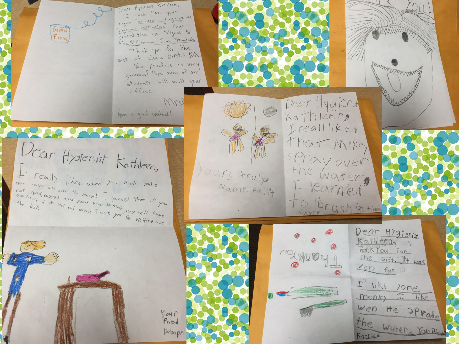 Thank you letters to hygienist Kathleen from children at P.S. 99 in Kew Gardens.