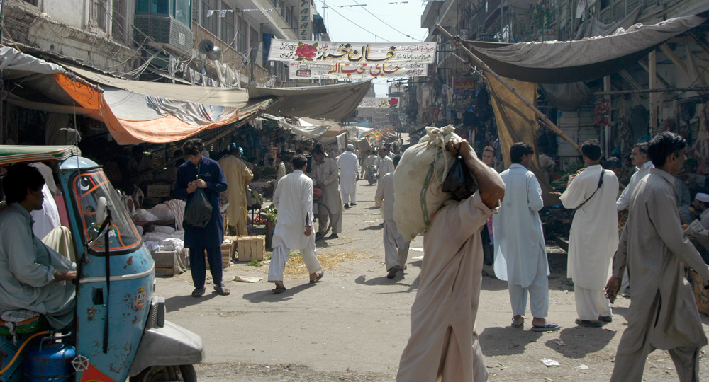 The Rawalpindi market where I was set upon by a group of men for taking photographs of women. As can be seen from the photograph, there wasn't a woman in sight.