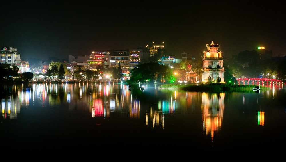 Lake Hoan Kiem, Hanoi, at night.   Image:    © David Astley