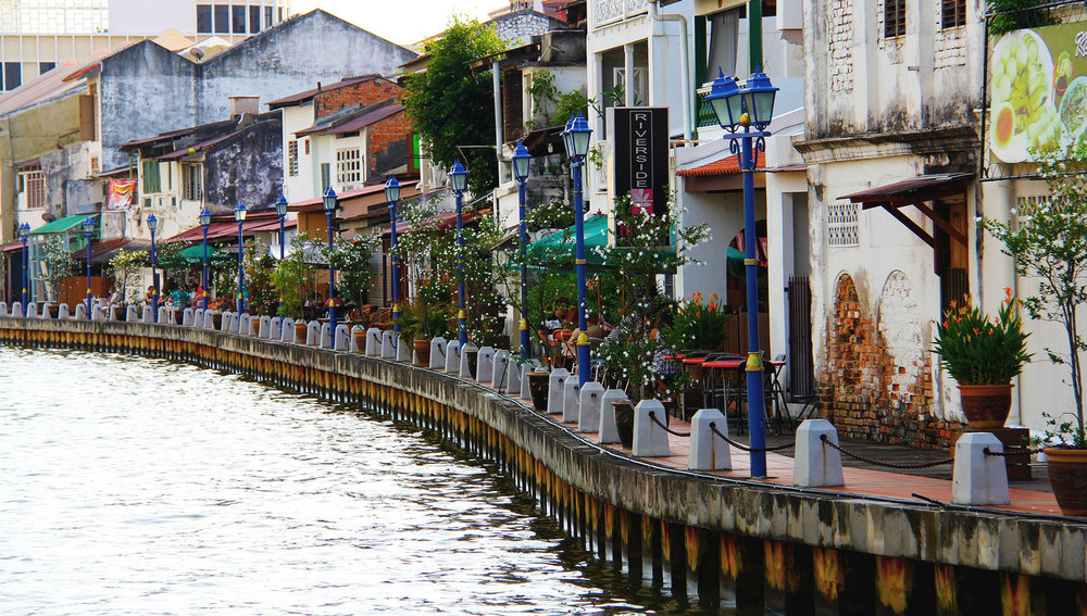 Cafes along the river in Malacca town.   Image:     Sharon Ang