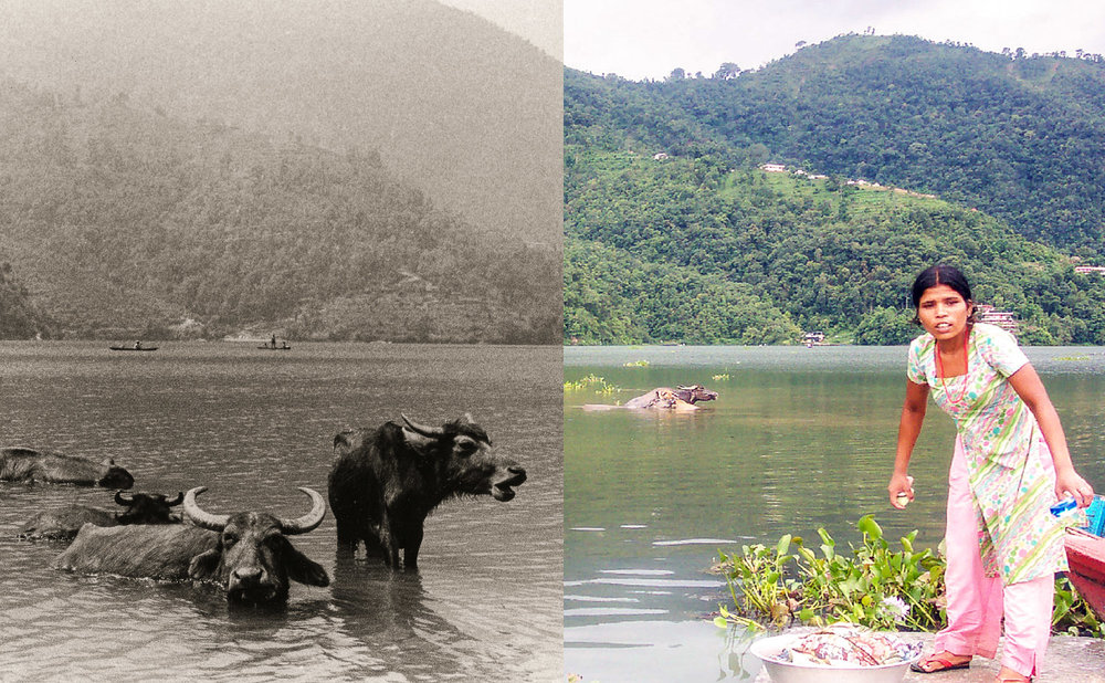 Phewa Tal, Pokhara, Nepal, in 1973 and 2004.   Image:   © Alan Williams