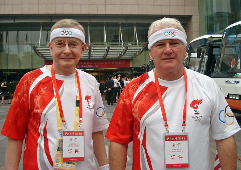 With John Barton, waiting for the bus to take us to Tiananmen Square. I still had my headband on upside down at that stage,
