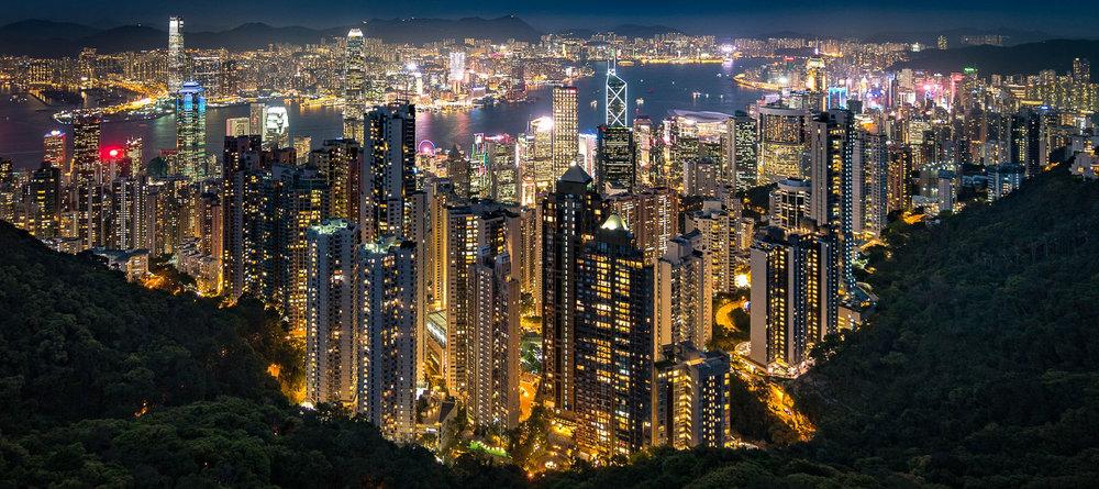 Hong Kong at night from Victoria Peak. Image:   Nathaniel Parker