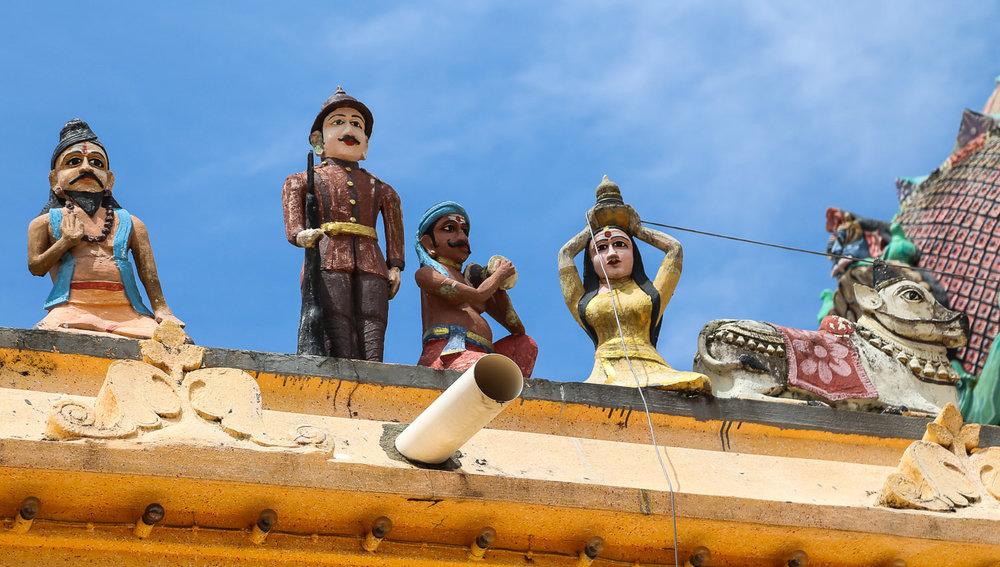 Figures on the roof of Kellie's Hindu temple. Image:  © Alan Williams