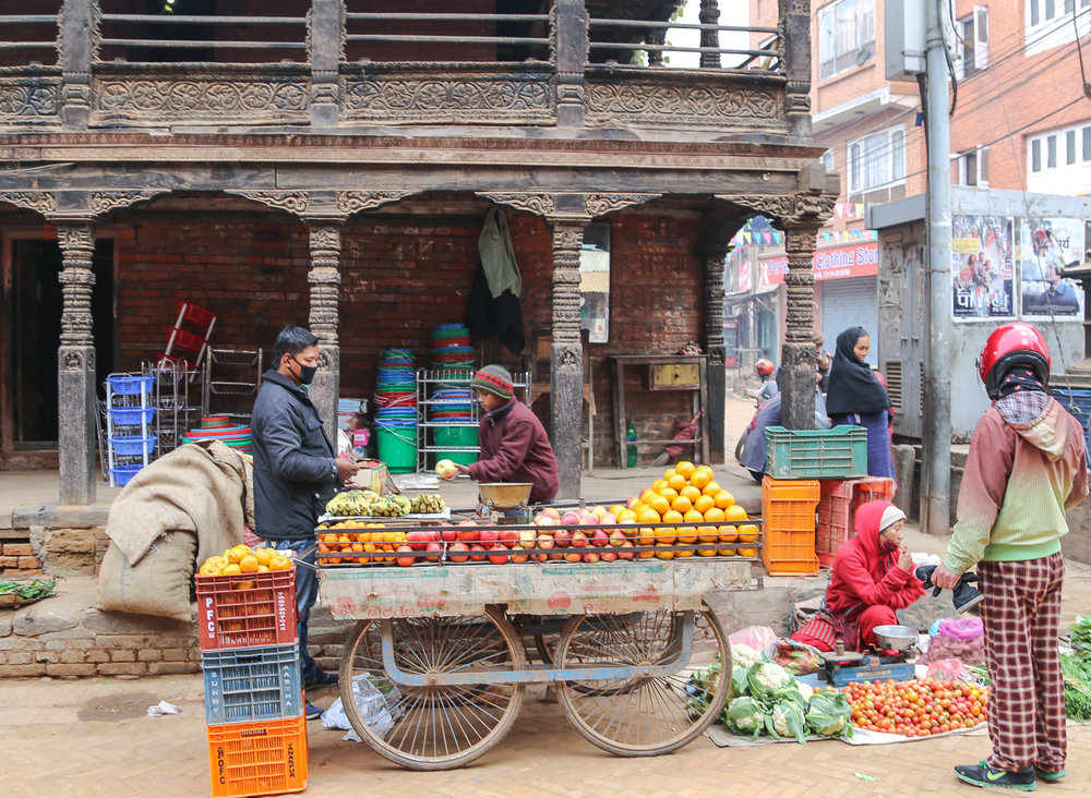 Fruit and vegetable vendors in Bhaktapur.   Image:  © Alan Williams