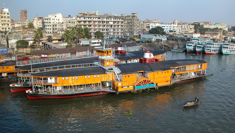Rocket paddle steamers moored in Dhaka.   Image:  © David Astley