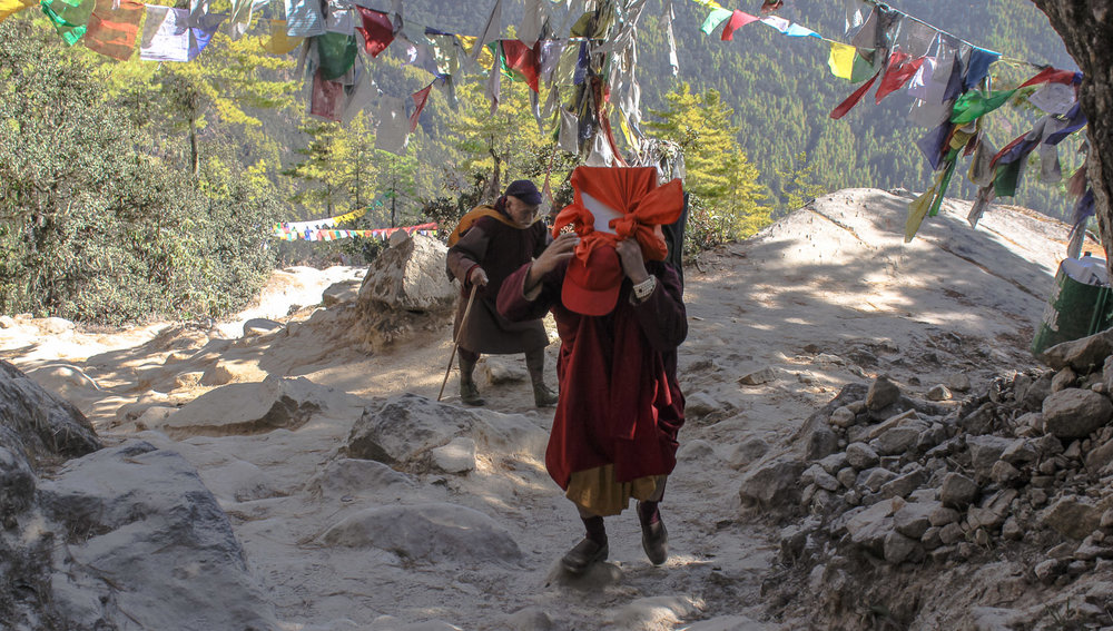 Buddhist devotees climbing to the Tiger's Nest.  Image:    © Alan Williams
