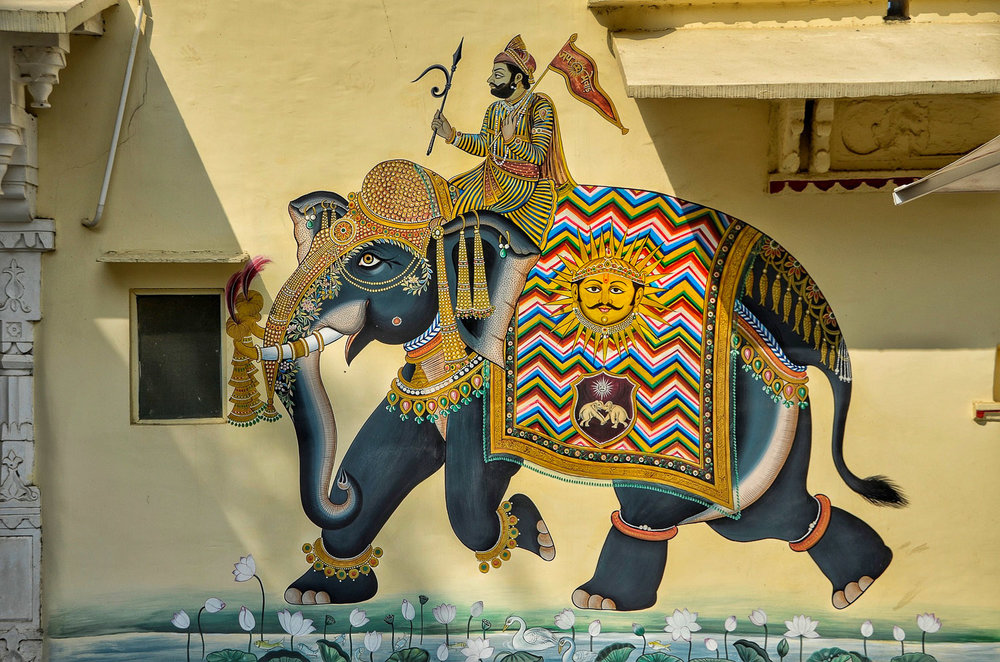 An Indian mural featuring a decorated elephant. Image:     Richard Mcall