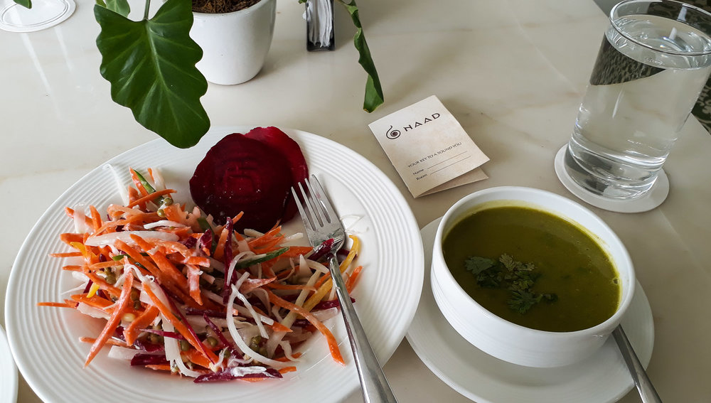 Pea and pumpkin soup with fresh salad. Image:  © Ambica Gulati