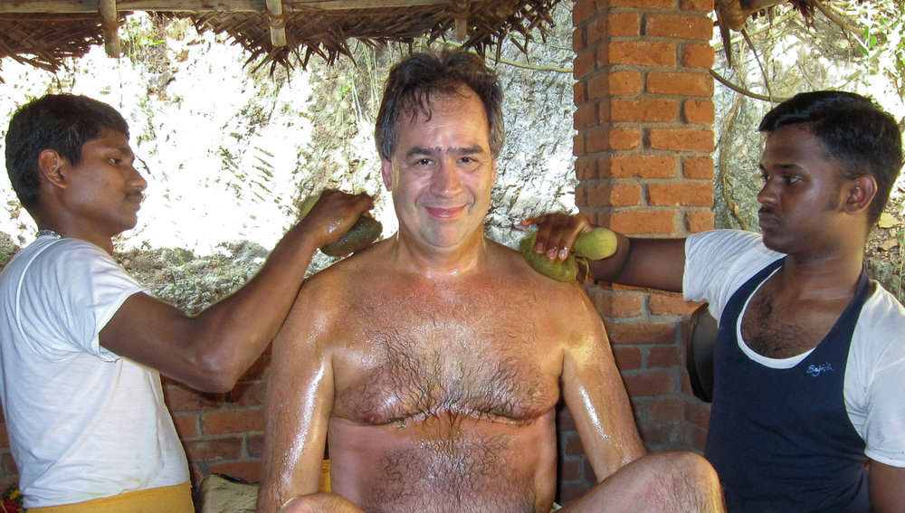 A traveller undergoing ayurveda treatment in Kerala. Image:     Fabrice Florin