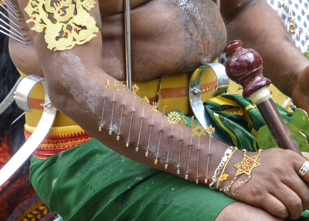 Body piercings carried out for Thaipusam. Image:     Françoise Gisbert