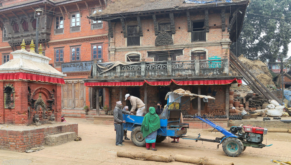 Bullock carts face competition from tractors in Nepal. Image:  © Alan Williams