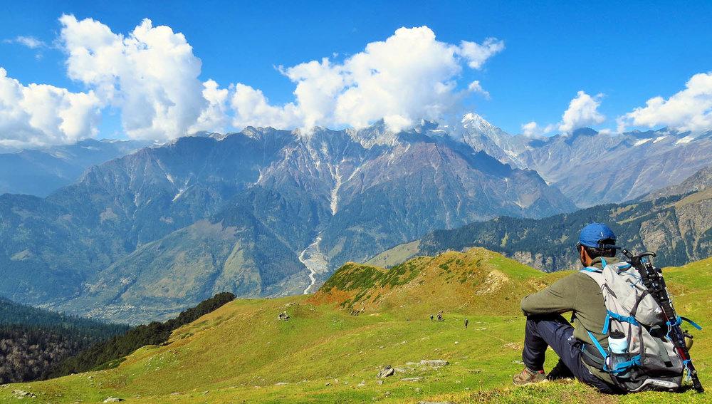 Hikers near Bhrigu Lake, Himachal Pradesh. Image:     Vijay Dhankhar