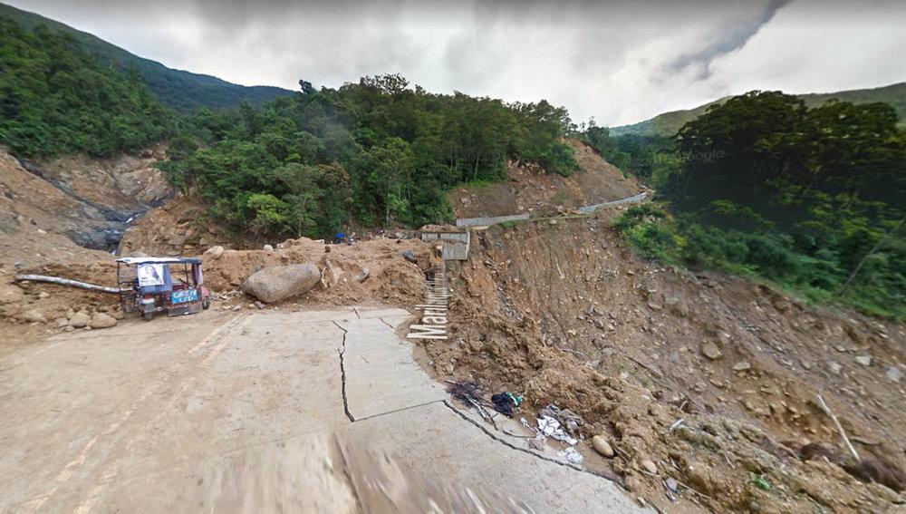 A Google Maps screenshot of the Querocep Bridge landslide.