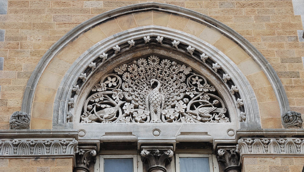 Intricate stonework above one of the windows. Image:  ©    Ting Chen