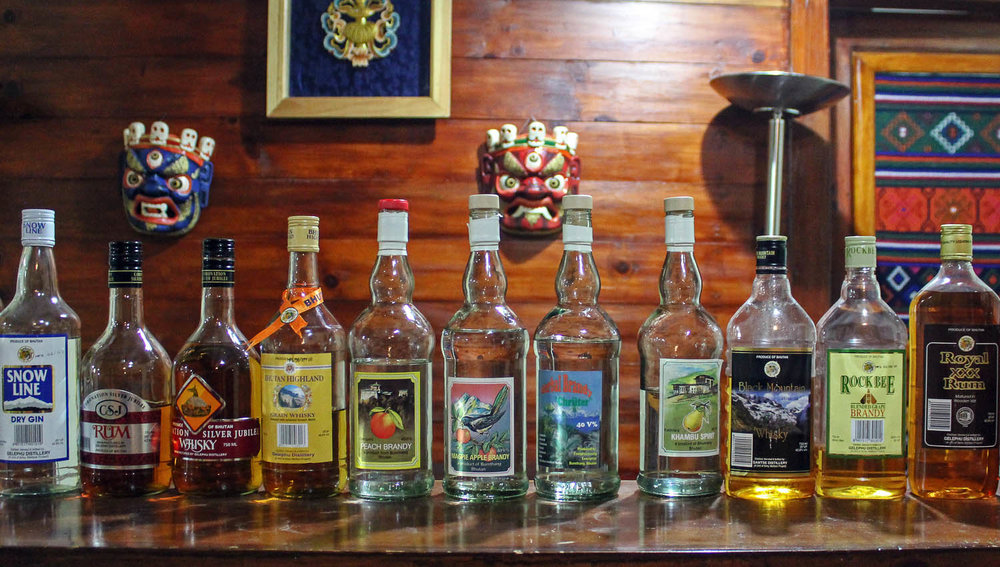 Locally–made alcohol in Bhutan. Image:  © Alan Williams