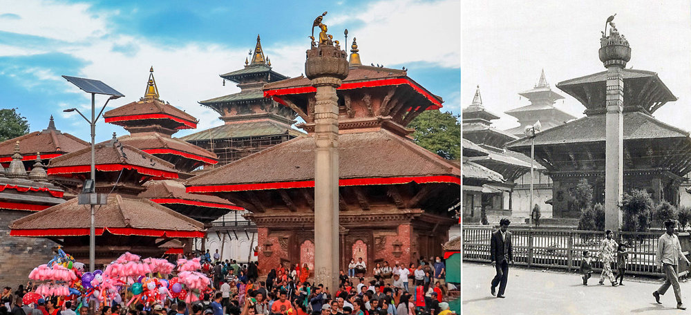 Durbar Square today and back in 1973. Images:     Siraj Ahmad    & Alan Williams