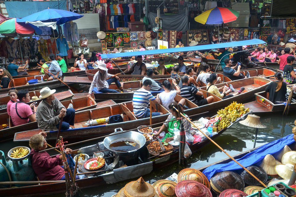 One of the busy floating markets near Bangkok. Image:     Dean Moriarty