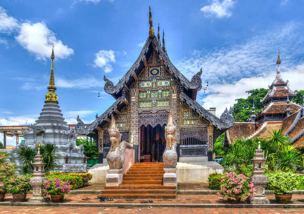 An ornate Buddhist temple in Chiang Mai. Image:     Michelle Maria