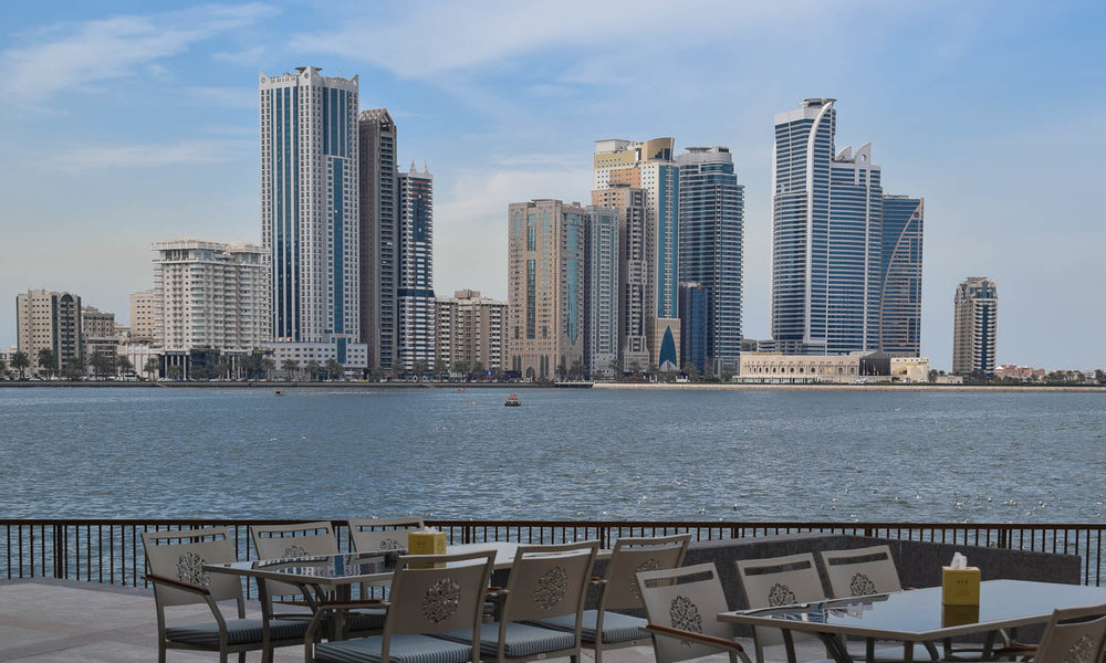 The modern waterfront skyline of Sharjah. Image:  Ambica Gulati
