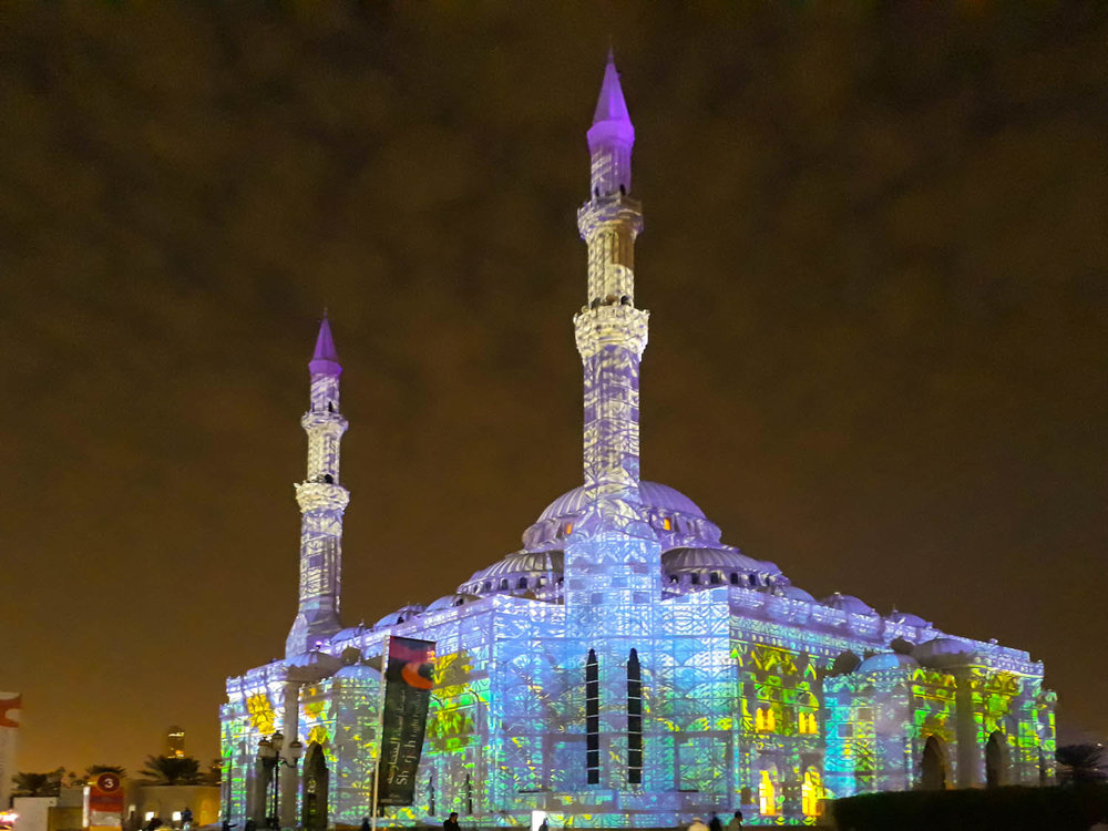 A mosque illuminated for the Sharjah Light Festival. Image:  Ambica Gulati