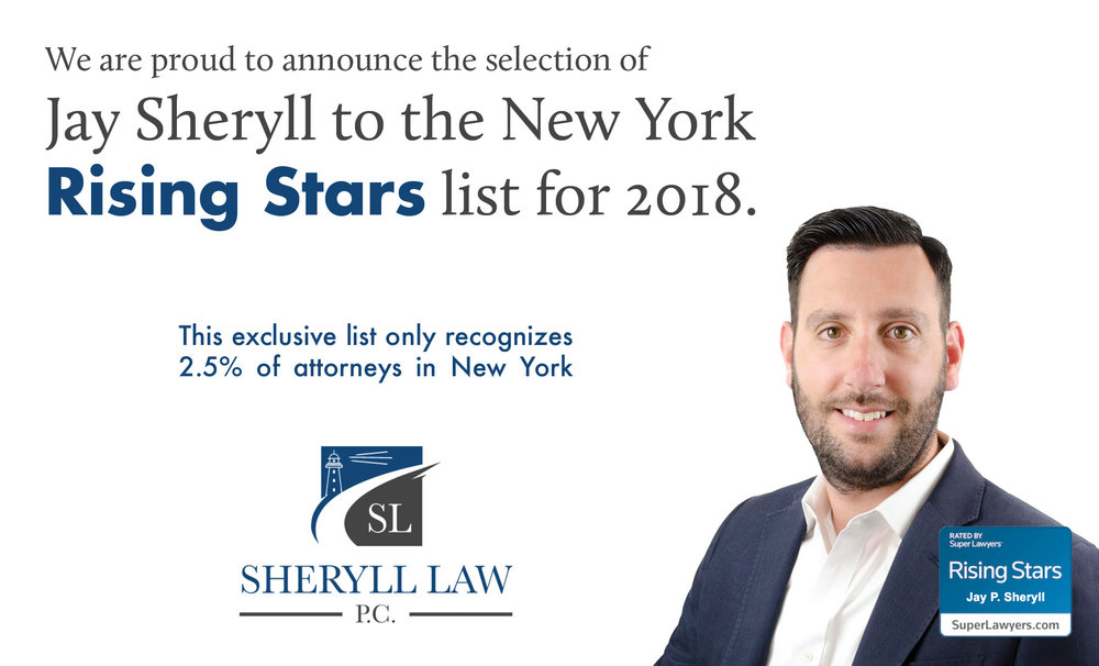 Sheryll Law, P.C. managing attorney, Jay Sheryll, has been named to the prestigious Super Lawyers Rising Star List. Super Lawyers uses a through, peer-reviewed selection process, which reviews categories of processional excellence, including scholarly lectures, writings and community service. Only the top 2.5% of lawyers in their state are named as Rising Stars.