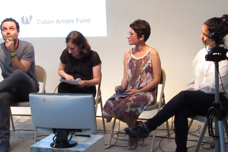 Artist conversation at RU with, from left: Jorge Wellesley, curator Meyken Barreto, curator María de Lourdes Mariño Fernández, and Elizabet Cerviño Photo: Cuban Art News