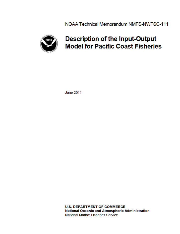 Description of the Input-Output Model for Pacific Coast Fisheries
