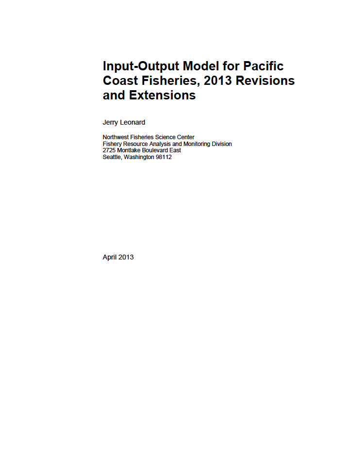 Input-Output Model for Pacific Coast Fisheries, 2013 Revisions and Extensions