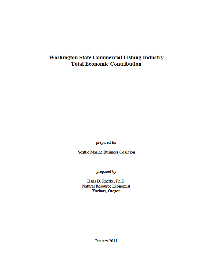 Washington State Commercial Fishing Industry Total Economic Contribution