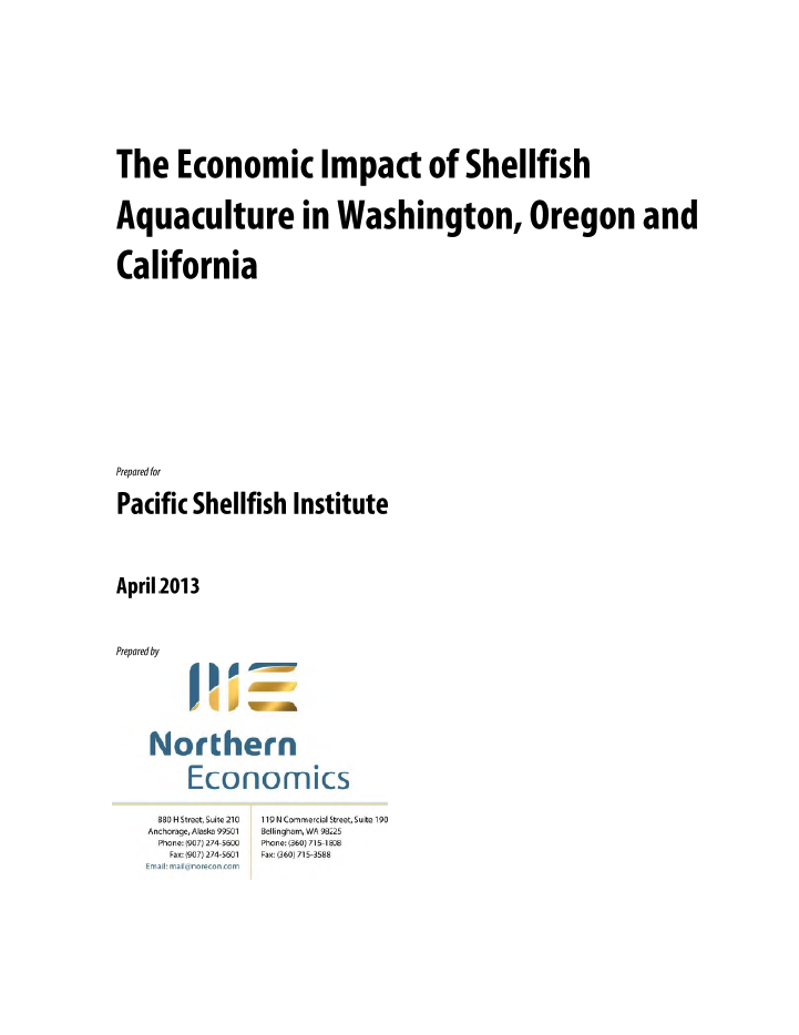 The Economic Impact of Shellfish Aquaculture in Washington, Oregon, and California