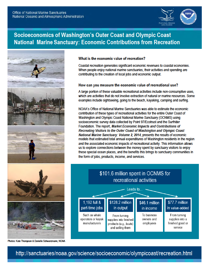 Socioeconomics of Washington's Outer Coast and Olympic Coast National Marine Sanctuary: Economic Contributions from Recreation