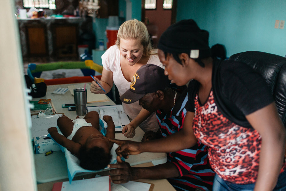 Outpatient Care - Malnourished children are treated as they come weekly with their caregivers to have wellness checks, receive Medika Mamba, and attend education on various topics including basic nutrition, health and wellness, and hygiene.