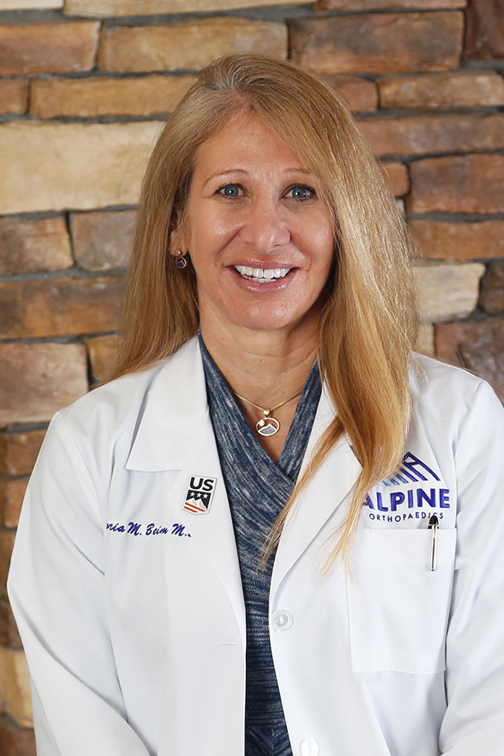 "DR. GLORIA BEIM  // Founder, M.D.  Dr. Gloria Beim founded Alpine Orthopaedics in 1999, and sees patients in Gunnison, Crested Butte, and Telluride. She began college at age 14, quickly earning her medical degree before moving on to earn Orthopaedic credentials and complete Fellowship training in Sports Medicine. Gloria is Board Certified in both Sports Medicine and Arthroscopy, and has had the honor of being selected for many appointments by the United States Olympic Committee to care for the athletes of Team USA.   SPECIALTIES   Knee  Shoulder  Hand  Joints  Tendon pain/damage   EDUCATION  ( click here for curriculum vitae )  Received her M.D. at University of California at San Diego  Earned her Orthopaedic credentials at the New York Orthopaedic Hospital at Columbia Presbyterian Medical Center  Received fellowship training at the University of Pittsburgh Center for Sports Medicine   RECOGNITION   Team Physician for US Ski Team at the 2003 Winter World University Games in Tarvisio, Italy  Team Physician for US Cycling and Taekwondo at the 2004 Olympics in Athens, Greece  CMO for Team USA at the 2005 World University Games in Izmir, Turkey  CMO for Team USA at the 2011 Pan American Games in Guadalajara, Mexico  Venue Medical Director for the 2012 Olympic Games in London, England  CMO for the Team USA at the 2014 Winter Olympics in Sochi, Russia  CMO for Team USA at the 2015 Para PanAm Games in Toronto, Canada  CMO for Team USA at the 2016 Paralympic Games in Rio De Janeiro, Brazil  Head Team Physician for Western State Colorado University (WSCU) Athletics  Upcoming: CMO for Team USA at the 2018 Paralympic Games in PyeongChang, South Korea   PUBLICITY/PUBLICATIONS   See the ""Women Who Rock"" section in  MTNtown magazine  for an interview with Dr. Beim  Dr. Beim  featured on The Today Show"