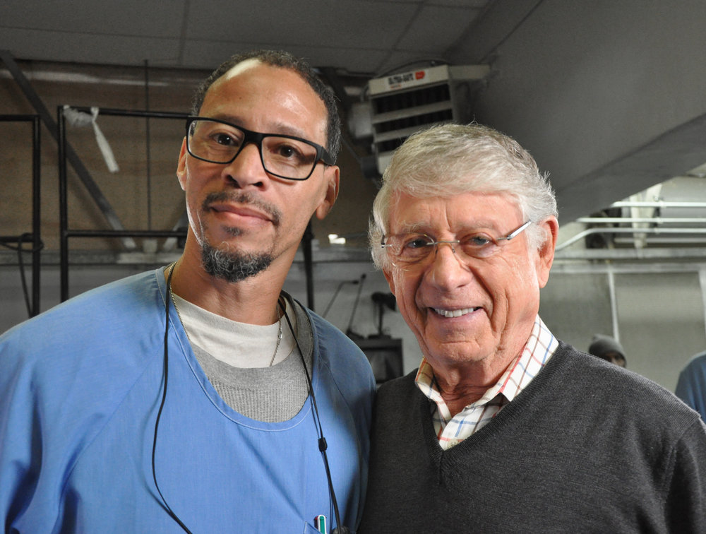 Rahsaan Thomas (marathon finisher) with Ted Koppel (Firsts) Photo by Nigel Poor
