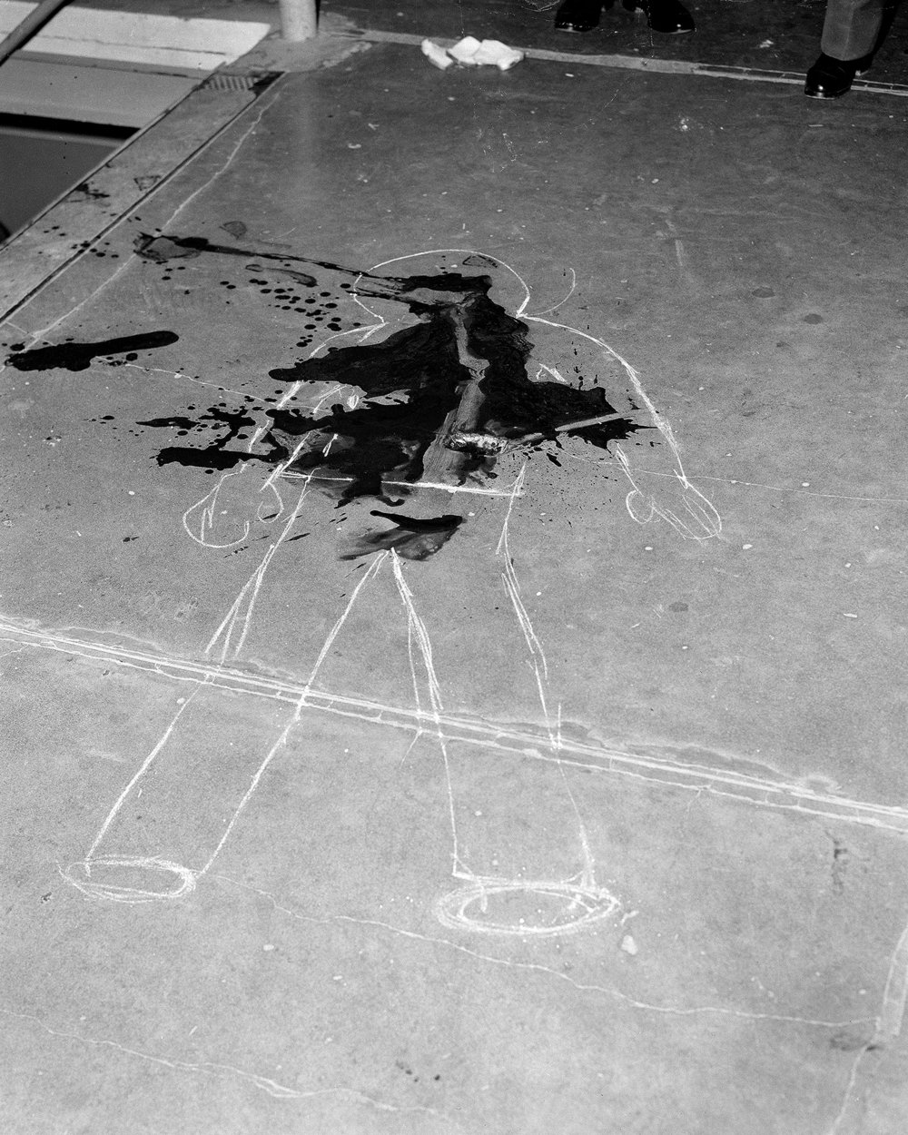 """Death by Stabbing 2.9.65"" from the San Quentin Archive Mesro describes this image in ""This Place"""