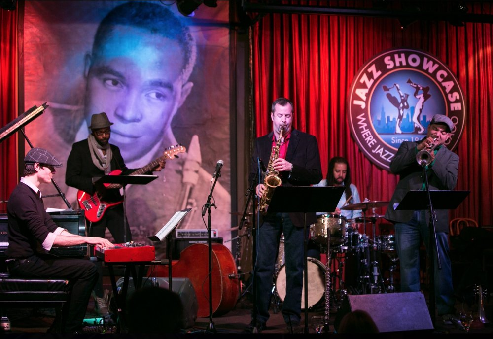 Shawn Maxwell's New Tomorrow performing at Jazz Showcase under the watchful eye of Charlie Parker.