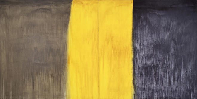 ANASTASIA PELIAS,  ELAINE, FOR ELAINE (SHADE GREY, TRANSLUCENT YELLOW, PAYNE'S GREY) , 2013. OIL ON CANVAS. COURTESY THE ARTIST AND OCTAVIA ART GALLERY, NEW ORLEANS.