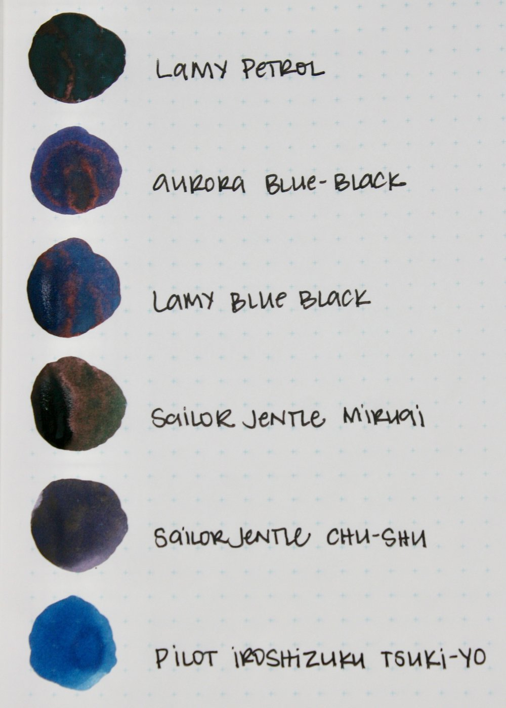 Similar colors: - Aurora Blue-Black looks too blue, as does Lamy Blue Black and Pilot Iroshizuku Tsuki-Yo. Sailor Miruai looks too green and Sailor   Chu-Shu looks too grey.